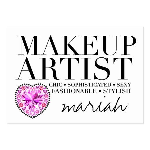 311 Tres Chic Makeup Artist Diamond Heart Business Card Template