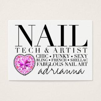 311 Tres Chic Nail Tech Diamond Heart Business Card