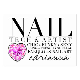 311 Tres Chic Nail Tech Diamond Heart Large Business Card