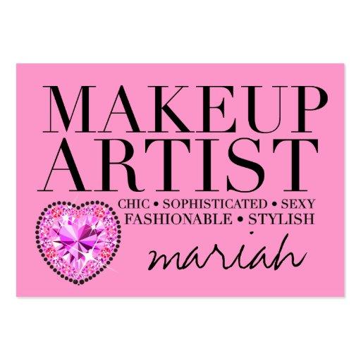 311 Tres Chic Pink Makeup Artist Diamond Heart Business Card Templates