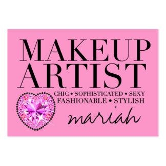 311 Tres Chic Pink Makeup Artist Diamond Heart Large Business Card