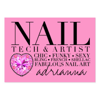 311 Tres Chic Pink Nail Tech Diamond Heart Large Business Card