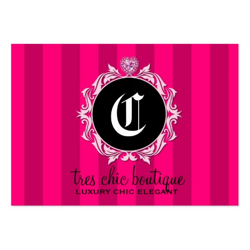 311 Tres Chic Pink Stripes Business Card Template