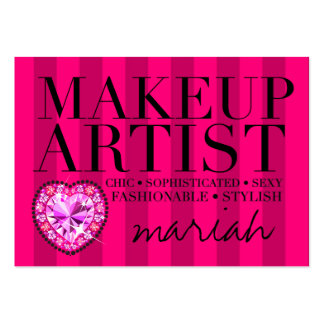 311 Tres Chic Pink Stripes Makeup Artist Large Business Card