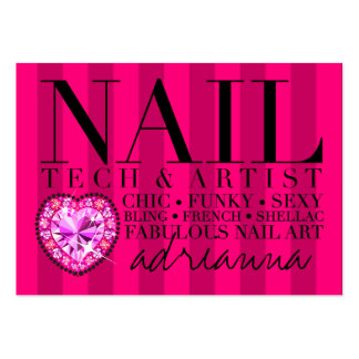 311 Tres Chic Pink Stripes Nail Tech Large Business Card