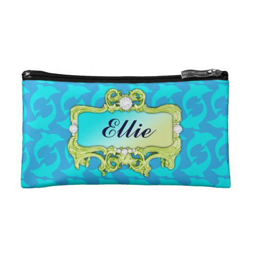 311 Tropical Glam Crazy Aqua Dolphin Print Makeup Bags