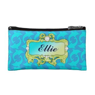 311 Tropical Glam Crazy Aqua Dolphin Print Makeup Bag