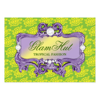 311 Tropical Green Glam Sea Turtle Print Business Card Template