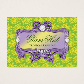 311 Tropical Green Glam Sea Turtle Print Business Card