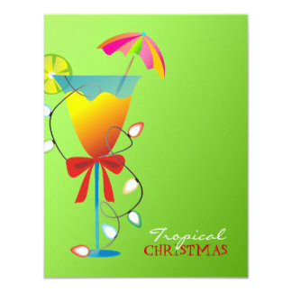 311-Tropical Paradise Christmas Lime Green Luau Card