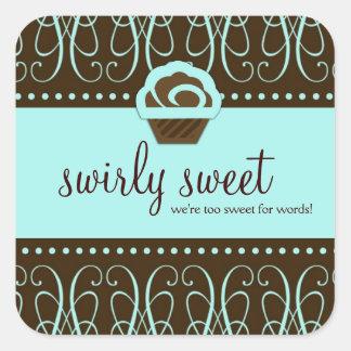 311 Turquiose Swirly Sweet Too Square Sticker