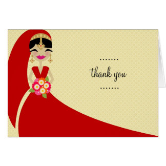 311 UPDO BRIDE THANK YOU INDIAN BRIDE GREETING CARD