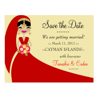 311-UPDO SAVE THE DATE INDIAN BRIDE POSTCARD