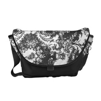 311 Vintage Gray White Damask Courier Bags