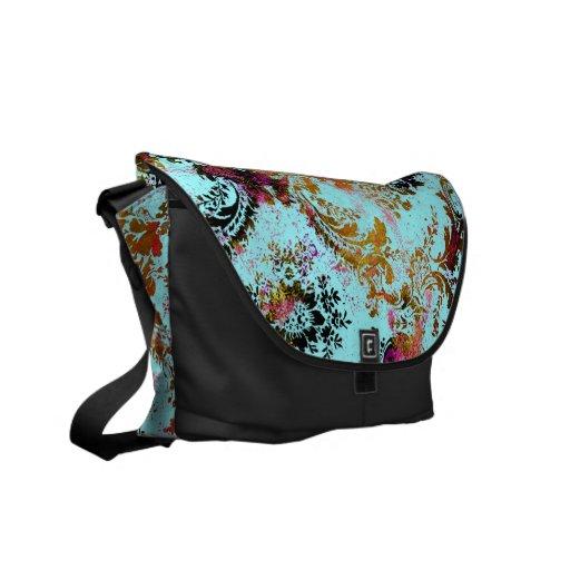 311 Vintage Turquoise Rust Damask Commuter Bag