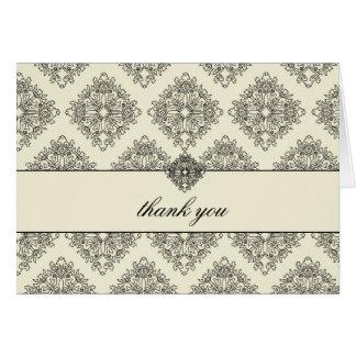 311 Vivianna Cream & Black Damask Thank You Card
