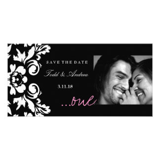 "311-White Damask ""ONE"" Pink Save the Date Photo Card"