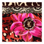 311 Wild Lily Pink Leopard Gift Certificate 5.25x5.25 Square Paper Invitation Card