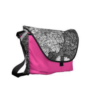 311 World Map Hot Pink Black Messenger Bag