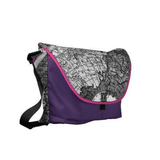 311 World Map Purple Pink Trim Messenger Bag