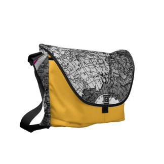 311 World Map Yellow Black Trim Courier Bags
