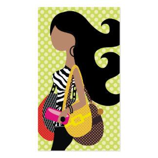 311 Zebra Fashionista Brunette Long Hair Business Card