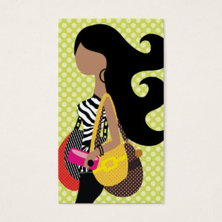311 Zebra Fashionista Brunette Long Hair Business Card