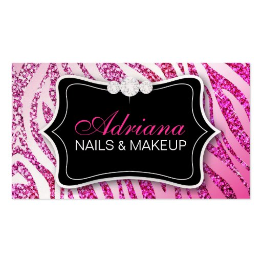 311 Zebra Glitter Pink Business Card Templates