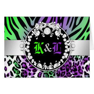 311 Zebra Leo-Tique Diamond Kiss Purple Green Card