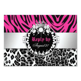 311 Zebra-Leo Tique Diamonds n' Kisses Reply Card