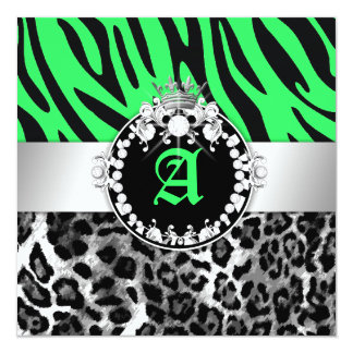 "311 Zebra-LeoTique Diamonds Kisses Sweet 16 Neon L 5.25"" Square Invitation Card"