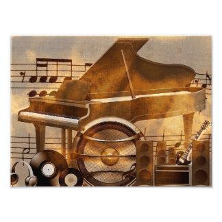 313583 DIGITAL MUSICAL GOLDEN COLLAGE GUITAR PIANO PHOTO PRINT