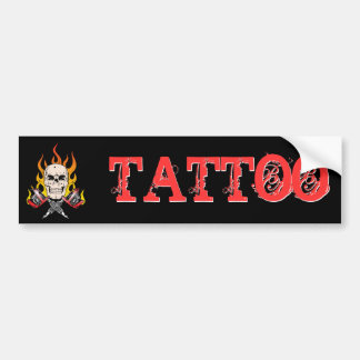 318 Flaming Skull Tattoo Bumper Sticker
