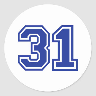 31 - number classic round sticker