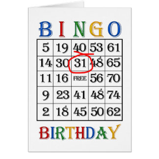 31st Birthday Bingo card