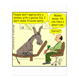 321 donkey genius smart a$$ color cartoon postcard