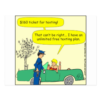 323 Free texting ticket color cartoon Postcard
