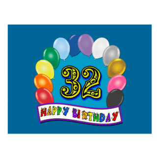 32nd Birthday Balloons Gifts Postcard