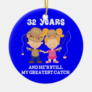 32nd Wedding Anniversary Funny Gift For Her Round Ceramic Ornament