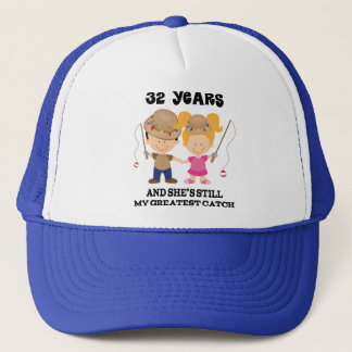 32nd Wedding Anniversary Gift For Him Trucker Hat