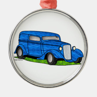 33 Chevy Sedan Delivery Silver-Colored Round Ornament