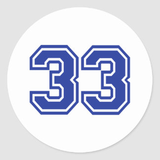 33 - number classic round sticker