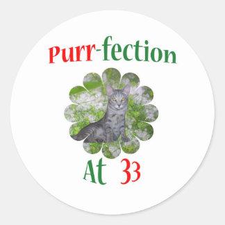 33 Purr-fection Classic Round Sticker