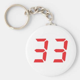 33 thirty-three red alarm clock digital numbr keychain