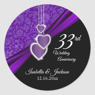 33rd Amethyst Wedding Anniversary Design Classic Round Sticker