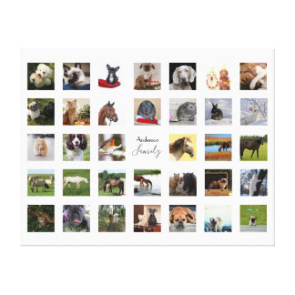 34 PHOTO COLLAGE with TEXT Keepsake - ANY Occasion Canvas Print