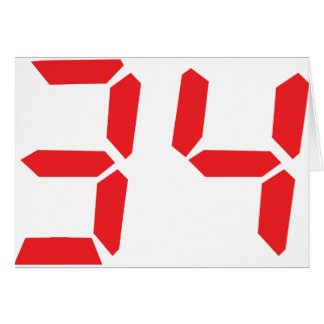 34 thirty-four red alarm clock digital numbr card