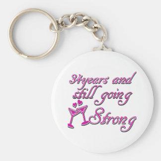 34th wedding anniversary basic round button keychain