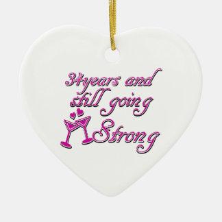 34th wedding anniversary ceramic heart ornament