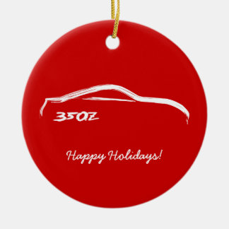 350Z White Silhouette with Red Background Ceramic Ornament
